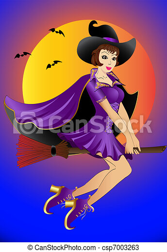 sexual witch , flying on broom - csp7003263
