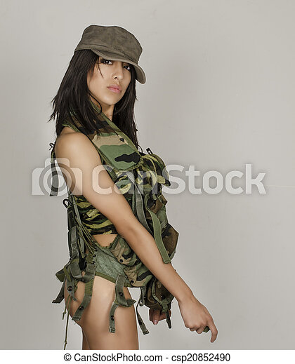 Sexy army girl - csp20852490
