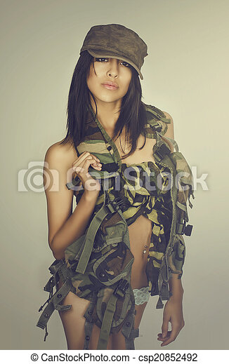 Sexy army girl - csp20852492