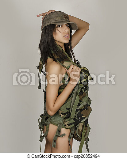 Sexy army girl - csp20852494