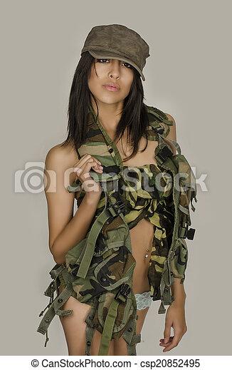 Sexy army girl - csp20852495