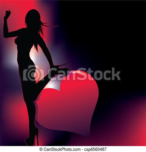 sexy, astratto, silhouette, backg - csp6560487