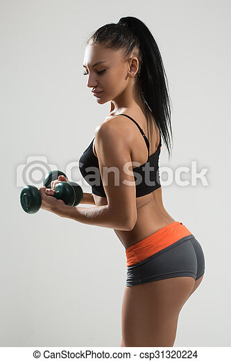 b95150f3e27b Sexy athletic woman with long hair. back. Sexy athletic woman with ...