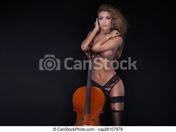 naked women playing chello