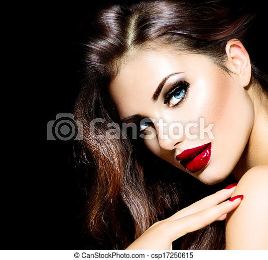 Sexy Beauty Girl with Red Lips and Nails. Provocative Makeup - csp17250615