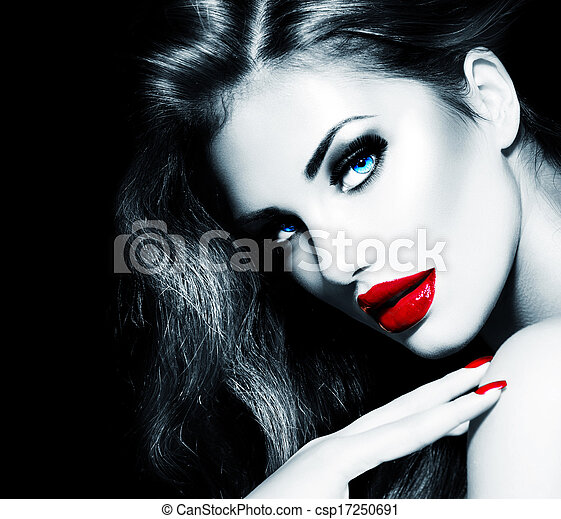 Sexy Beauty Girl with Red Lips and Nails. Provocative Makeup - csp17250691