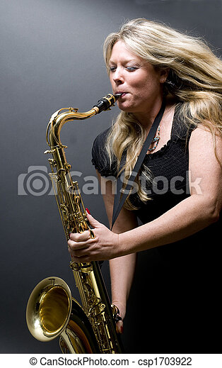White Sexy black aand player girl saxophone