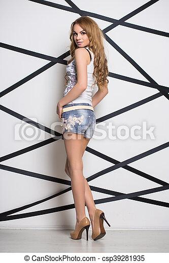 Sexy blond woman - csp39281935