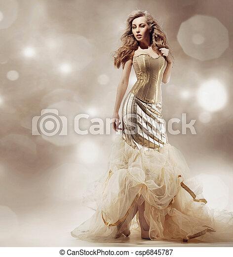 sexy, blondynka, przedstawianie, piękno - csp6845787