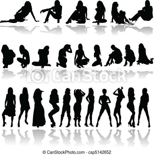 Siluetas de vector de chicas sexy - csp5142652