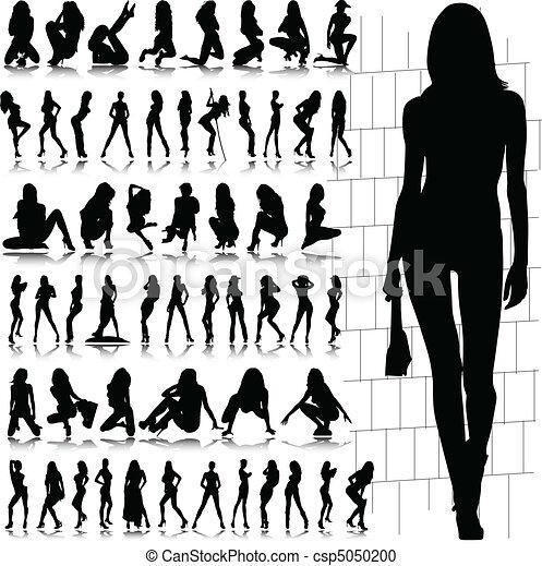 sexy, caliente, vector, silueta, niña - csp5050200
