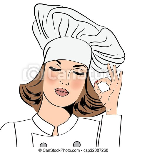 sexy chef woman in uniform gesturing ok sign with her hand clip rh canstockphoto com black female chef clipart female chef clipart free
