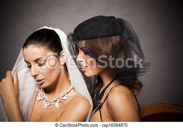 sexy, couple, lesbienne, élégant - csp16384870