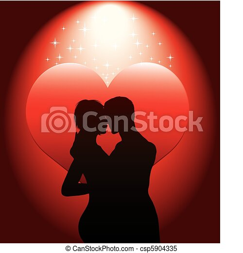 sexy couple silhouette with red hea - csp5904335