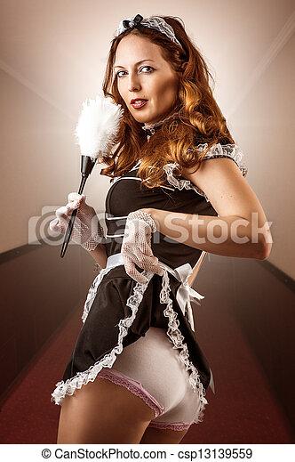 sexy, domestica, francese, presa a terra, spolveratore - csp13139559