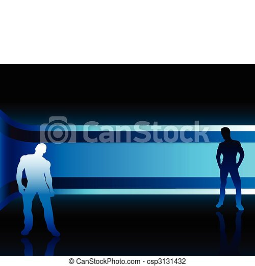 Sexy fashion boys in beautiful and colorful background - csp3131432