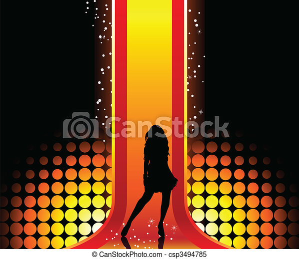 Sexy fashion girl in beautiful and colorful catwalk. - csp3494785