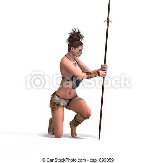 Sexy female fantasy Barbarian - csp1893059
