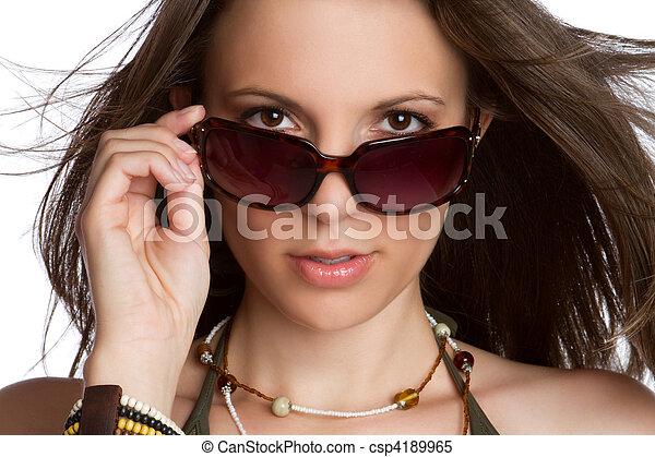 sexy, frau, sonnenbrille - csp4189965