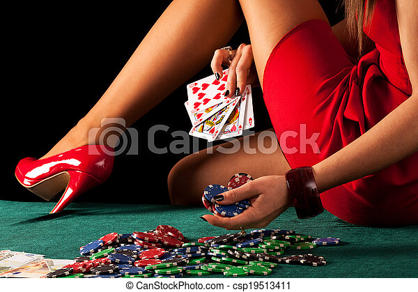 Sexy gambling woman - csp19513411