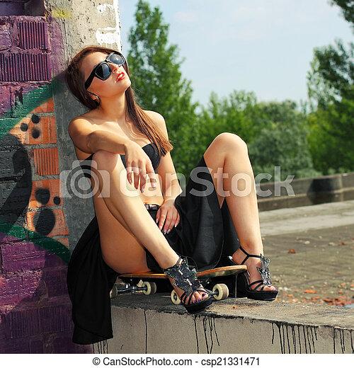 on Sexy skateboard girl