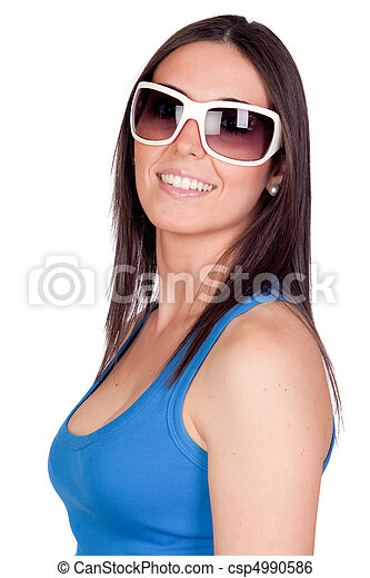 d66c43e94 Sexy girl with sunglasses isolated on a over white background.