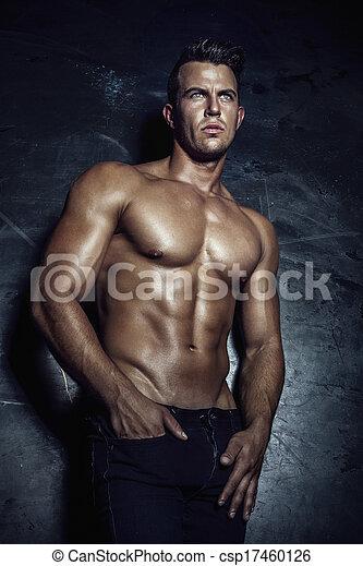 sexy, guapo, hombre, posing. - csp17460126