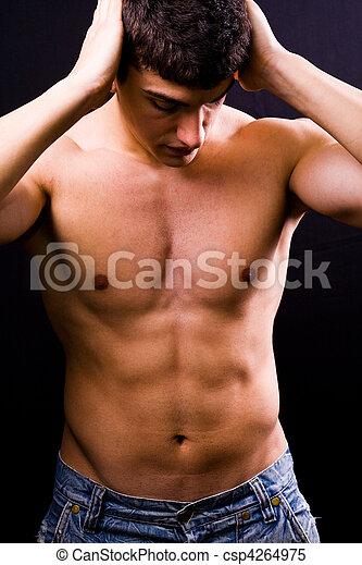 sexy, guapo, joven, muscular, hombre - csp4264975