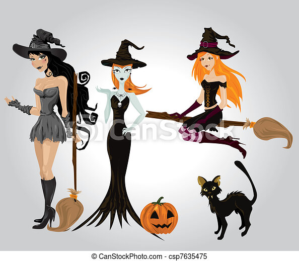 Sexy, halloween hexe Clipart Vektor - Suche Illustration ...