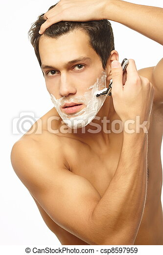 Sexy handsome young man with a shav - csp8597959