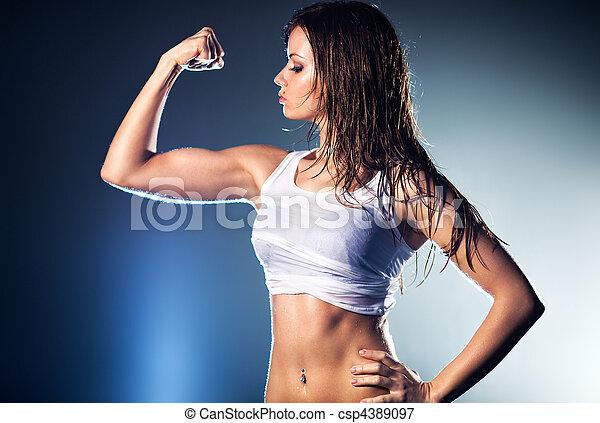 sexy, kobieta, młody, silny - csp4389097