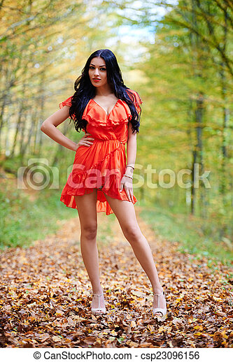 Sexy Lady In Red Dress Csp23096156