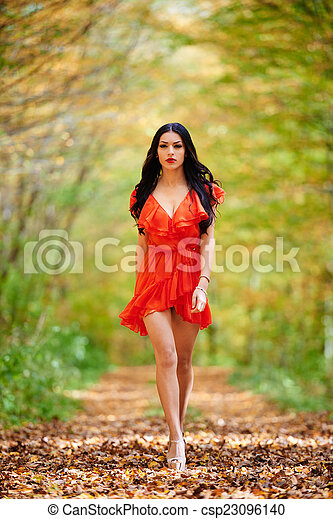 Sexy Lady In Red Dress Csp23096140