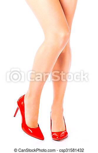 Sexy Legs In Red High Heels On White Background Csp31581432
