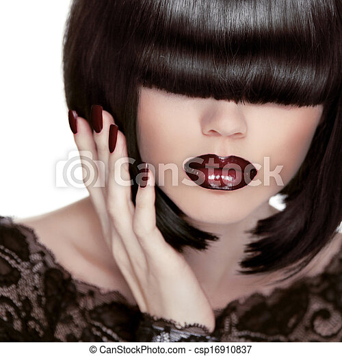 Sexy Lips. Manicure and Makeup. Lipstick. Fashion Girl. Fringe. Black Short Hair. Haircut.  - csp16910837