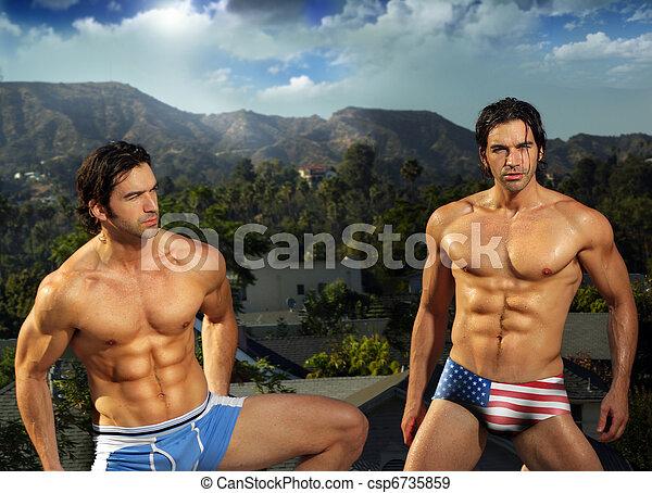 sexy, mâle, jumeaux, crise - csp6735859
