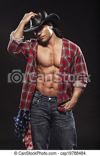 sexy, maenner, mögen, cowboy - csp19788484