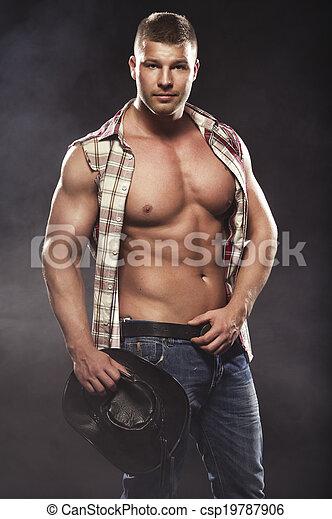 sexy, maenner, mögen, cowboy - csp19787906