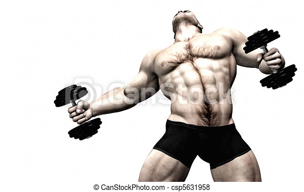 Sexy male body builder - weight lif - csp5631958