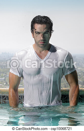 Sexy man in pool - csp10068721