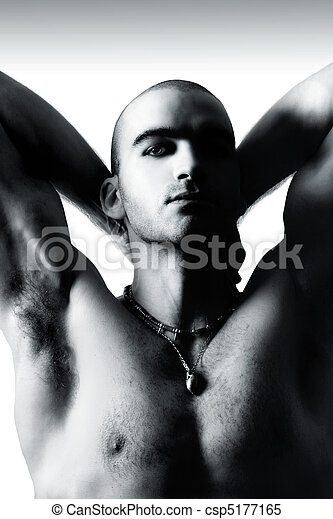 Sexy man with shaved head - csp5177165