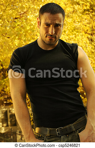 Sexy man with sleeves rolled up - csp5246821