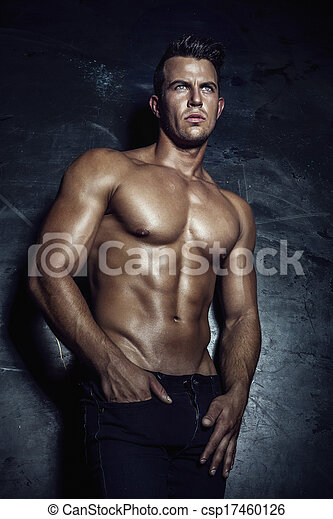 sexy, mooi, man, posing. - csp17460126