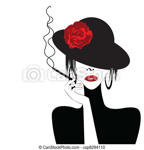 Mujer sexy con un cigarro - csp8294110