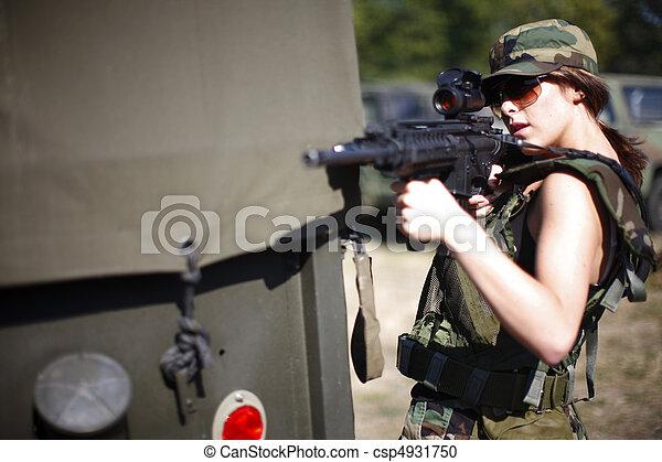 sexy, mujer, militar - csp4931750