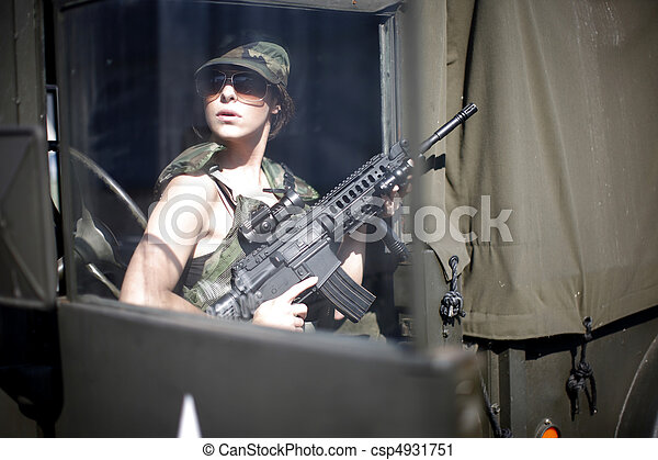 sexy, mujer, militar - csp4931751