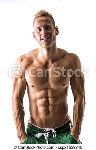 Sexy muscular blond shirtless male model smiling - csp21639240