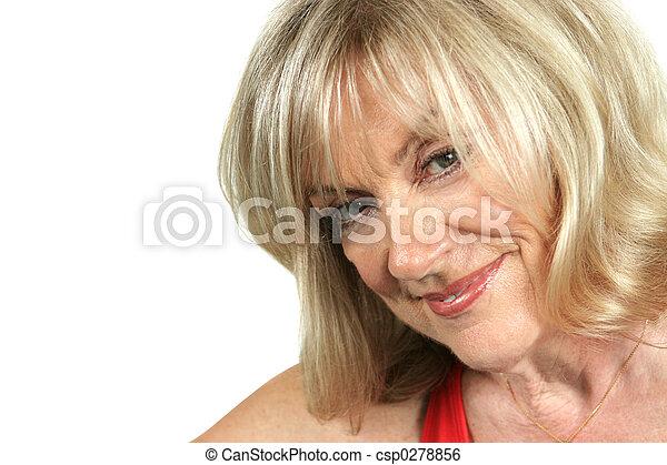 sexy older woman. a closeup of a beautiful, mature blond stock