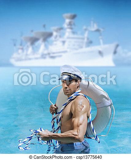 Sexy sailor guy - csp13775640