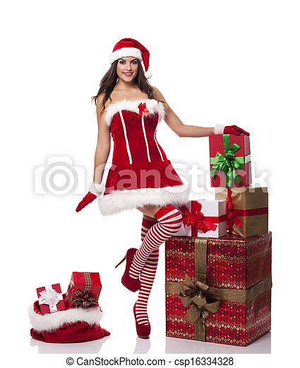 sexy santa woman with christmas presents csp16334328
